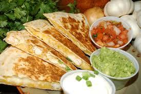 BURRITO BAR Quesadilla Sour Cream, Guac., Cheese, choice of meat or black bean and corn salsa.... mmmmm